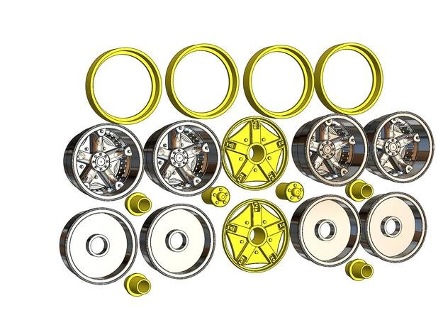 1:16 5-spoke wheels for Monogram Peterbilt & Kenwo in White Natural Versatile Plastic