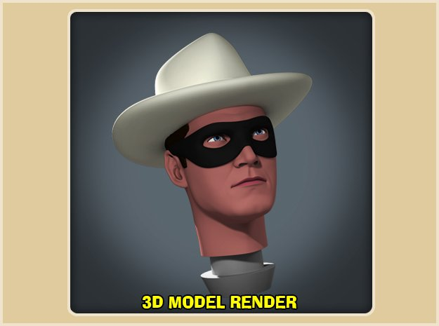 1:9 Scale Lone Ranger Head in White Processed Versatile Plastic