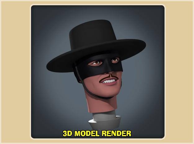 1:9 Scale Zorro Head in White Processed Versatile Plastic
