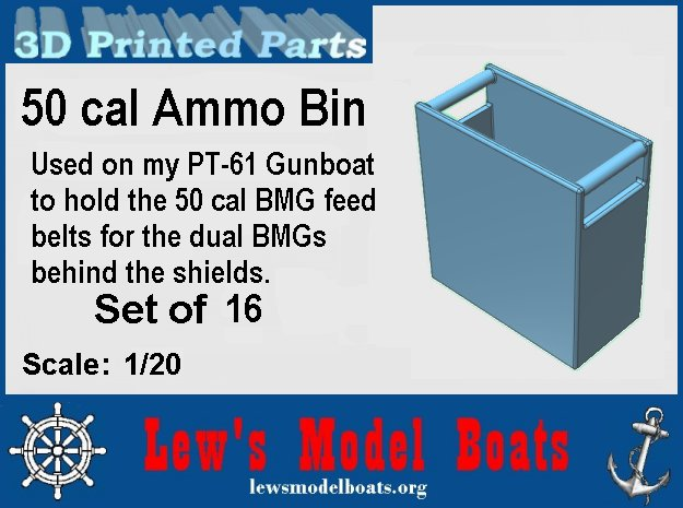 Dual 50 BMG Ammo Boxes in White Natural Versatile Plastic: 1:20