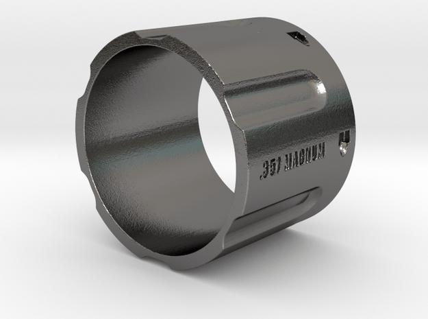 357 Magnum Cylinder, 6 shot, Ring Size 14 in Polished Nickel Steel