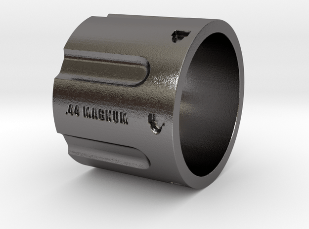 44 Magnum Cylinder XL, 20mm Tall, Ring Size 12 in Polished Nickel Steel