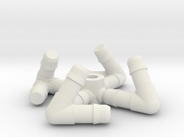 Tetrahedron Straw Connectors in White Natural Versatile Plastic