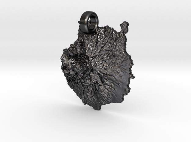 Colgante de Gran Canaria in Polished and Bronzed Black Steel