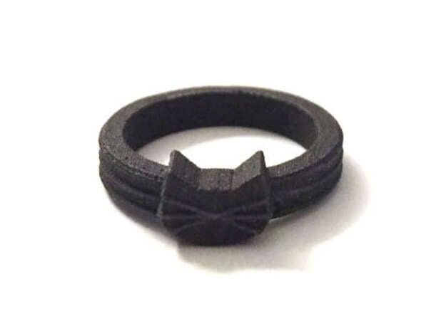Cat Face in Black Matte Steel in Matte Black Steel: 8 / 56.75