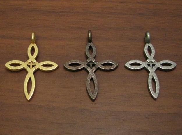 Ichthus Cross Pendant in Polished Bronzed Silver Steel