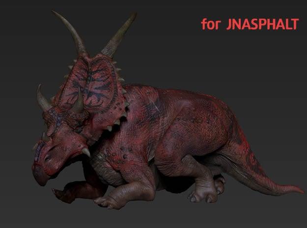 Procumbent Diabloceratops (Small / Medium size) in White Natural Versatile Plastic: Small
