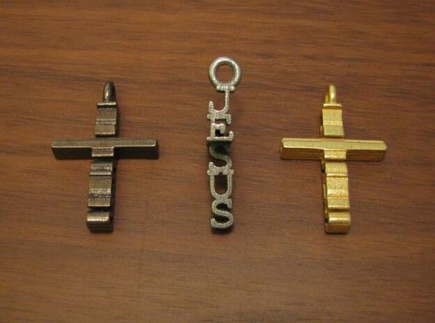 Jesus Cross Pendant in Polished Bronzed Silver Steel