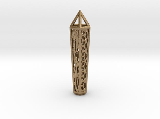 Filigree Hex Crystal in Polished Gold Steel