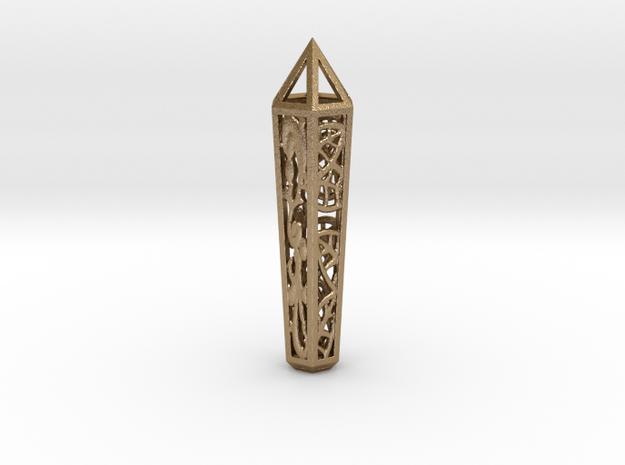 Filigree Leaf Crystal in Polished Gold Steel