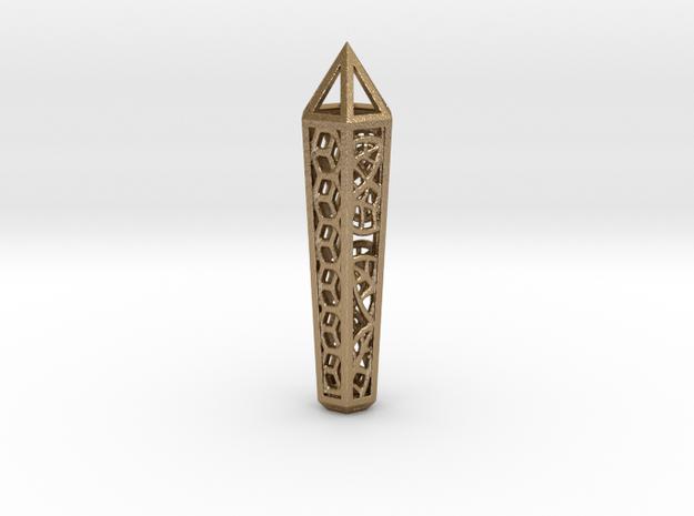 Hex Leaf Crystal in Polished Gold Steel