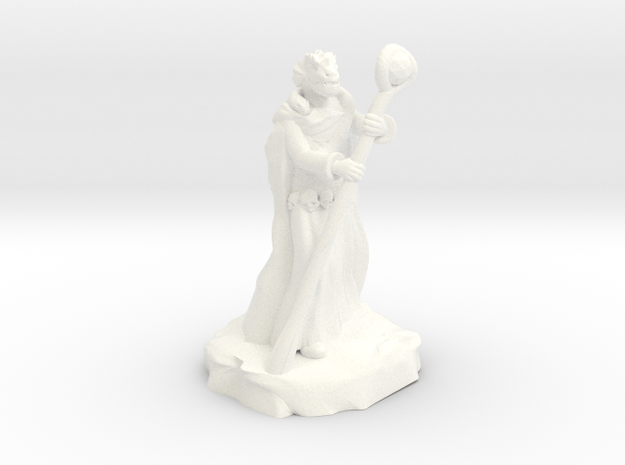 Dragonborn Tribal Sorcerer With Staff and Snake in White Processed Versatile Plastic