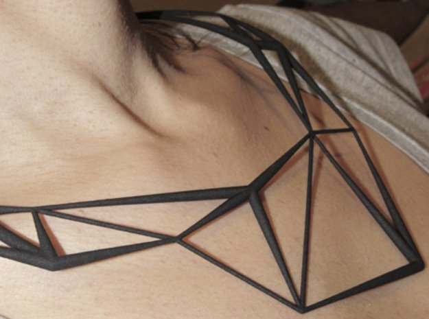 Necklace Triangles in White Natural Versatile Plastic
