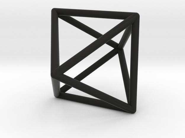 Octahedron Pendant in Black Natural Versatile Plastic