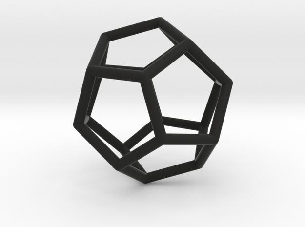 Dodecahedron Pendant in Black Natural Versatile Plastic