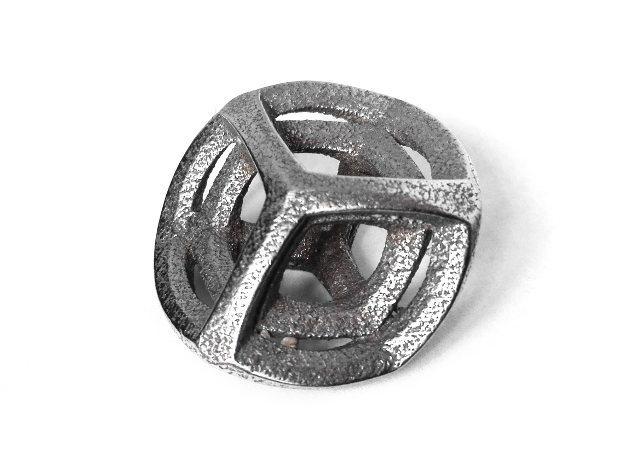 Tesseract Pendant in Polished Bronzed Silver Steel