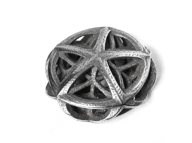Tetraplex Pendant in Polished Bronzed Silver Steel