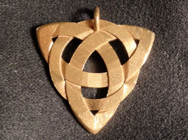Celtic Knot Necklace Pendant (Inverted Triquetra) in Natural Bronze