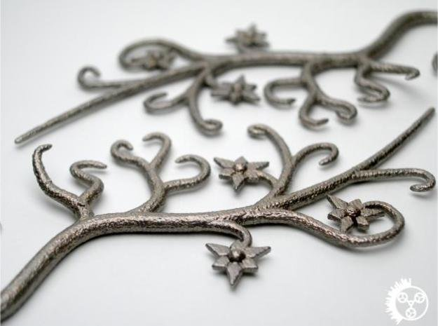 Tendril Earrings in Polished Bronzed Silver Steel