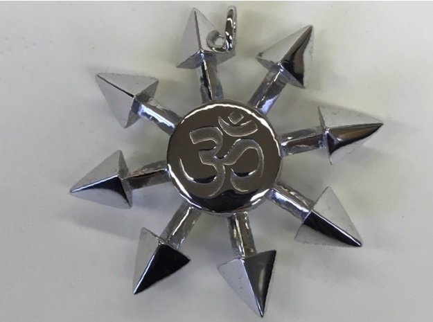 Chaos Star Pendant in Rhodium Plated Brass