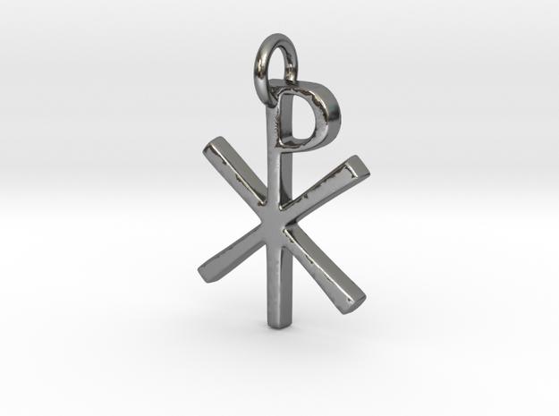 Chi-Rho in Polished Silver