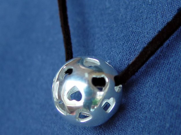 Hearts Orb Pendant in Polished Silver