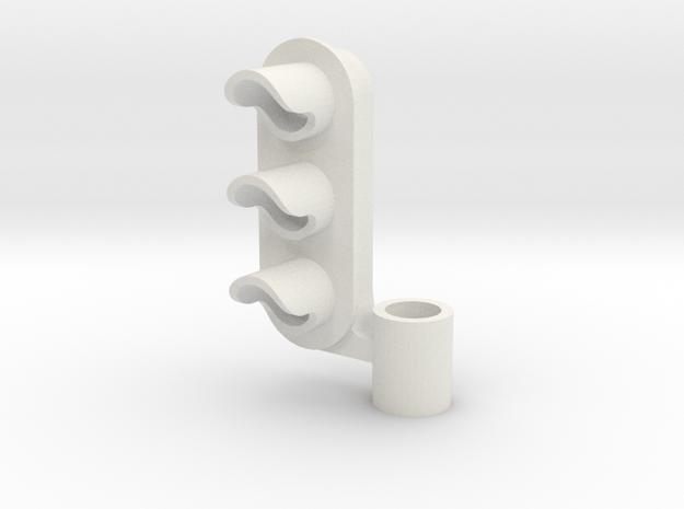 Three Aspect Light Left  3/16 post in White Natural Versatile Plastic