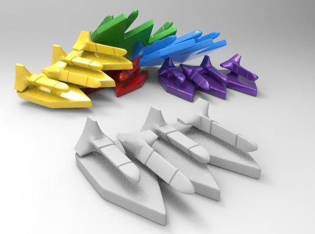 6 Futuristic Torpedo Markers in White Natural Versatile Plastic