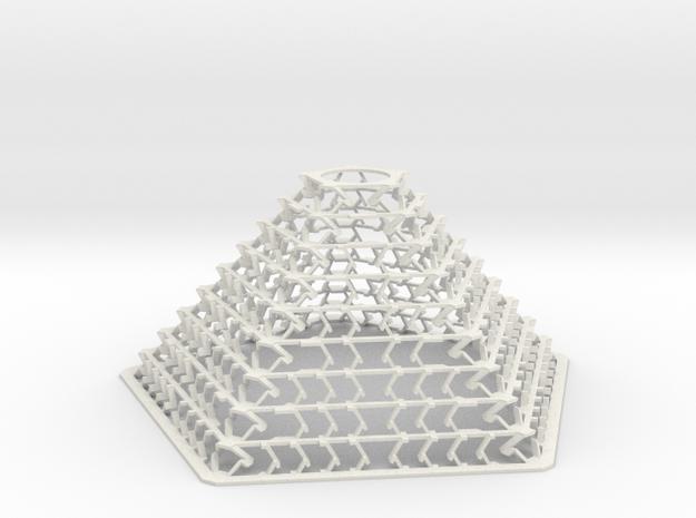 Pentagonal Pyramid Staggered Desktop Decor Lamp in White Natural Versatile Plastic