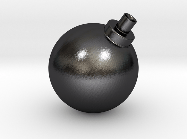 Bomb Vase in Polished and Bronzed Black Steel