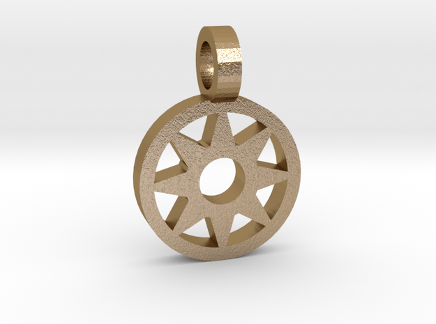 Sun Pendant in Polished Gold Steel