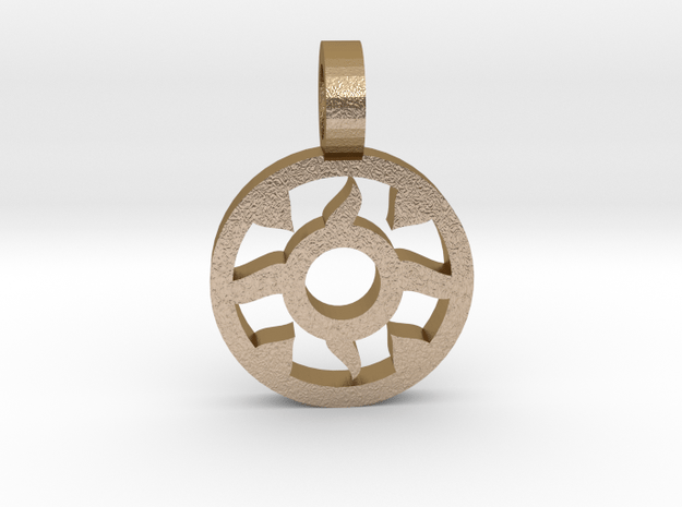 Sun Pendant 4 in Polished Gold Steel