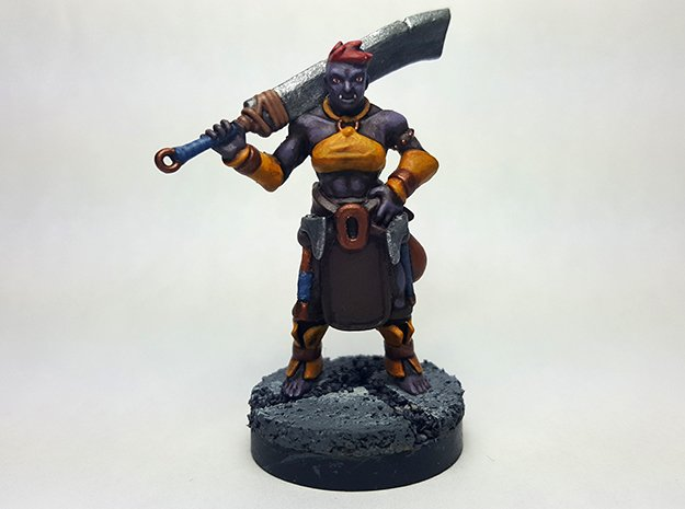 Half Orc Barbarian in Smooth Fine Detail Plastic
