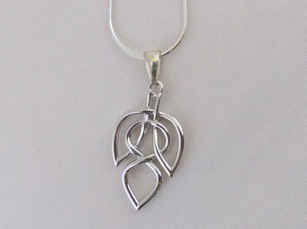 Leaf Celtic Knot Pendant in Polished Silver