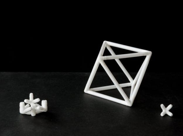 Octahedron Milk Straw Connectors in White Natural Versatile Plastic