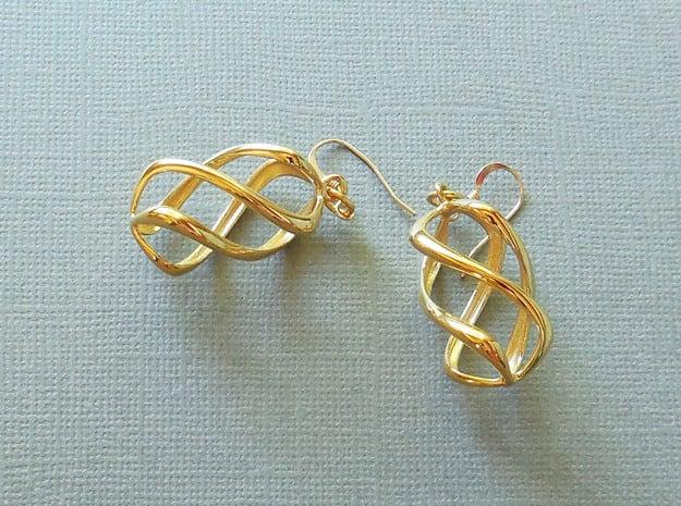 Twisty Earrings in Precious Metals in 14k Gold Plated Brass