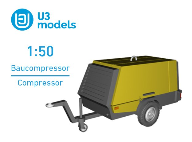 1:50 Baukompressor / Construction Compressor in Smooth Fine Detail Plastic