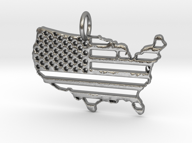 American USA Flag Map Pendant Charm in Natural Silver