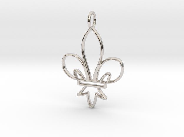 Fleur De Lis Symbol Stylized Lily Pendant Charm in Rhodium Plated Brass