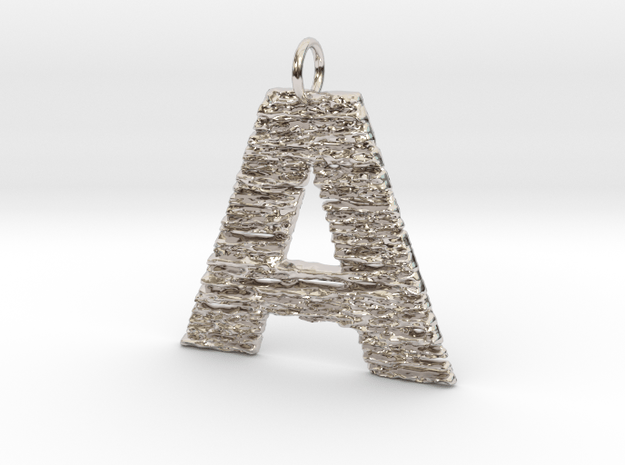 Trendy Modern Monogram A Initial Pendant Charm in Rhodium Plated Brass