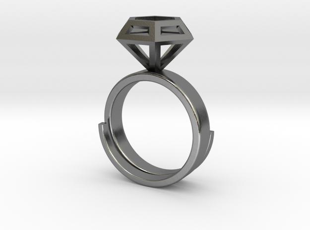 Diamondring US 6 in Polished Silver