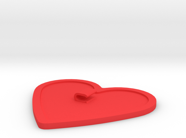 Heart-Shaped Cord Holder in Red Processed Versatile Plastic
