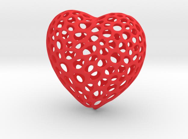 Voronoi Heart in Red Processed Versatile Plastic