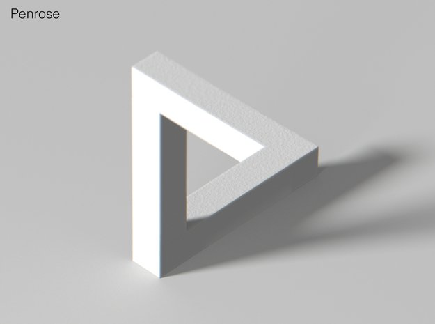Escher Penrose Triangle in White Natural Versatile Plastic