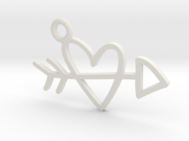 Heart & Arrow Charm! in White Natural Versatile Plastic