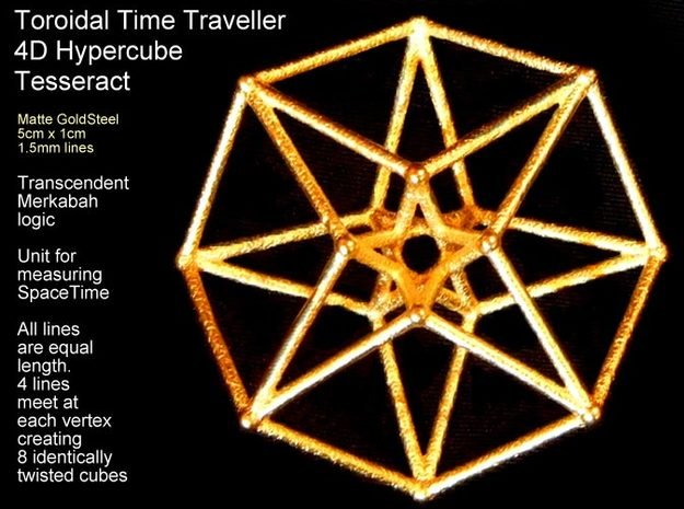 Sacred Geometry: Toroidal Hypercube 50mmx1.5mm  in White Natural Versatile Plastic