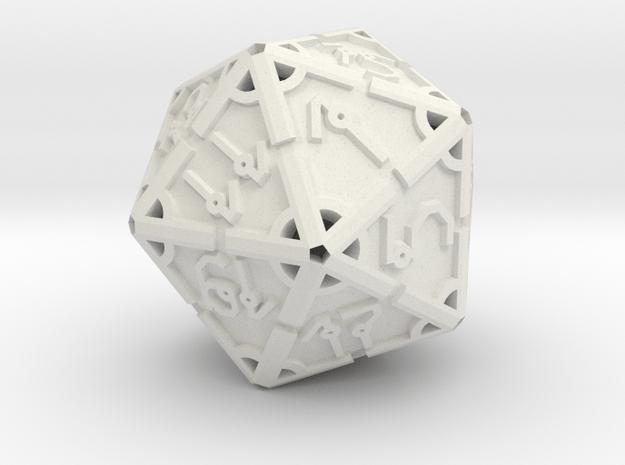 Vertex RPG D20 Hollow 55mm in White Natural Versatile Plastic
