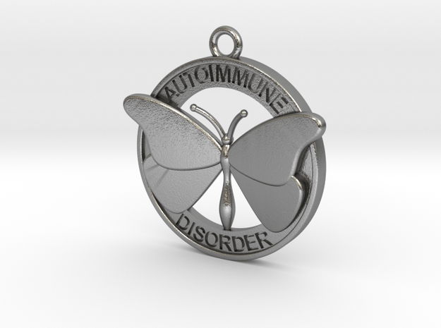 Autoimmune Butterfly Pendant 3cm in Natural Silver