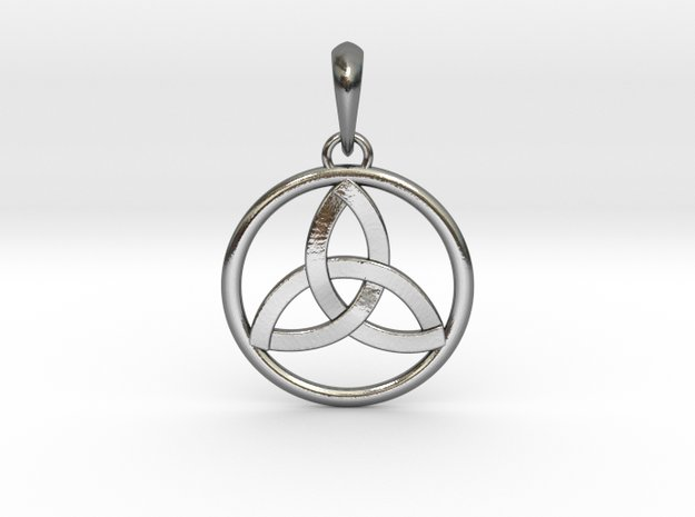 Pendant Amulet Triquetra Celtic Trinity Knot in Polished Silver (Interlocking Parts)