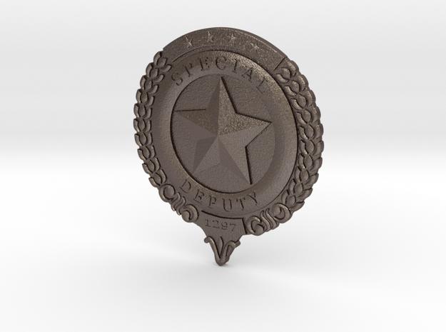 Wynonna Earp Marshall's Badge in Polished Bronzed Silver Steel